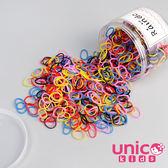 UNICO 兒童 少髮量高彈力加厚款800條彩色橡皮筋/橡皮圈罐裝-黑彩款