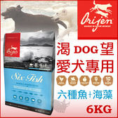 [寵樂子]結帳輸入OR600享折扣《Orijen 渴望》[六種鮮魚] 6kg/犬飼料