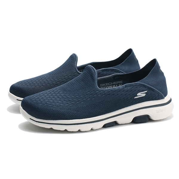 SKECHERS GO WALK5 OUTCLASS 深藍白 網布 後跟可踩 懶人鞋 健走 女(布魯克林) 15927NVY