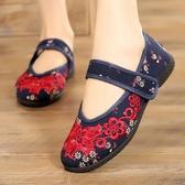 老北京布鞋女春夏民族風繡花鞋魔術貼粘扣中老年人平底休閒鞋