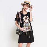 中大尺碼~個性印花喇叭衣袖短袖洋裝(L~5XL)