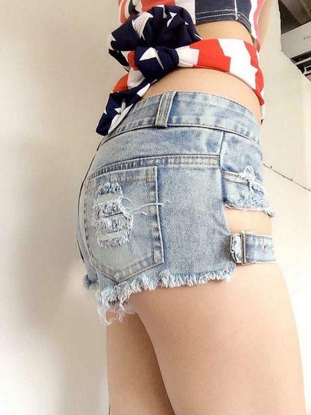 衣美姬♥火辣夜店辣妹 性感簍空 極短熱褲 熱舞短褲 火辣挖空牛仔短褲