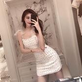 VK精品服飾 韓系小香風露肩顯瘦蝴蝶結綁帶無袖洋裝