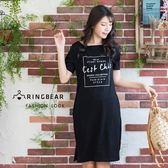 休閒洋裝--舒適休閒印花口袋開岔寬鬆顯瘦修長圓領短袖洋裝(黑M-3L)-D499眼圈熊中大尺碼