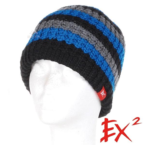 EX2 青少年條紋針織帽『藍灰』(54-56cm) 針織帽.造型帽.毛帽.毛線帽.帽子.禦寒.防寒.保暖 352414