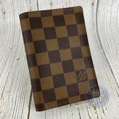 BRAND楓月 LOUIS VUITTON LV N60189 經典 棋盤格 對開 護照夾 護照套 名片夾