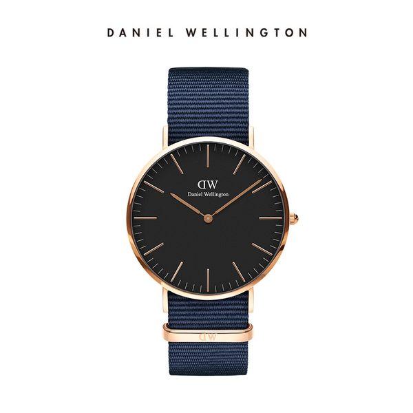 Daniel Wellington DW 手錶 40mm玫瑰金框 Classic 星空藍織紋手錶