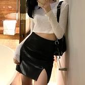 大碼加大短裙皮裙女春秋性感開叉半身裙黑色包臀裙高腰【大碼百分百】
