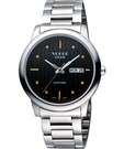 VOGUE 時尚藍寶石水晶日期腕錶-黑/...