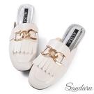 穆勒鞋 金屬環釦流蘇方頭平底拖鞋-米