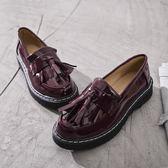 秋季復古小皮鞋 圓頭大碼休閒鞋子《小師妹》sm684