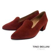 Tino Bellini西班牙進口溫潤全真皮樂福中跟鞋_橘紅 VI8528 歐洲進口款