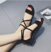 現貨出清韓版低跟涼鞋女交叉綁帶複古羅馬鞋一字扣學生平底涼鞋【蘇迪蔓】