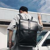 後背包男 後背包男韓版皮質 潮流翻蓋抽帶時尚背包書包 商務後背包 米蘭街頭