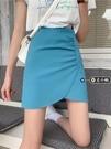 A字裙 設計感氣質不規則半身裙女夏季顯瘦高腰歐美辣妹短裙藍色包臀裙子 夢藝家