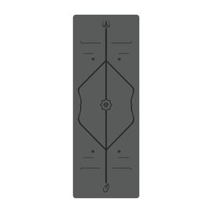 【生活良品】頂級PU天然橡膠瑜珈墊-正位體位線-厚度5mm高回彈專業版鐵灰色