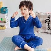 兒童睡衣 兒童睡衣套裝純棉秋季全棉小孩內衣男女童秋衣秋褲 城市科技