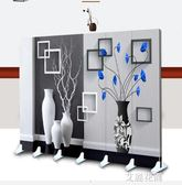 院屏風時尚推拉歐式客廳可移動折疊隔斷雙面定制現代簡約3DQM『艾麗花園』