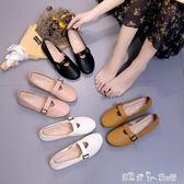 豆豆鞋女潮韓版百搭學生平底孕婦鞋奶奶鞋秋季單鞋子 「潔思米」