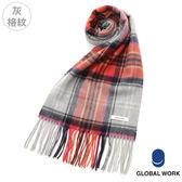 GLOBAL WORK男女經典素色條紋格紋流蘇喀什米爾羊毛圍巾-14色