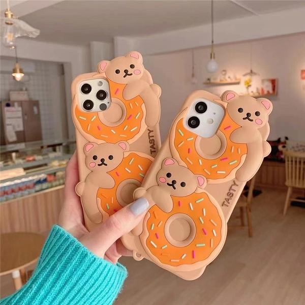 熊熊甜甜圈 適用 iPhone12Pro 11 Max Mini Xr X Xs 7 8 plus 蘋果手機殼