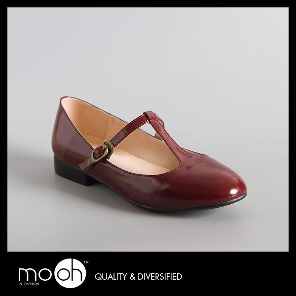 日本森林系T字帶真皮手工娃娃鞋 復古 清新 瑪麗珍鞋 粗跟 大紅色 mo.oh (日系鞋款)