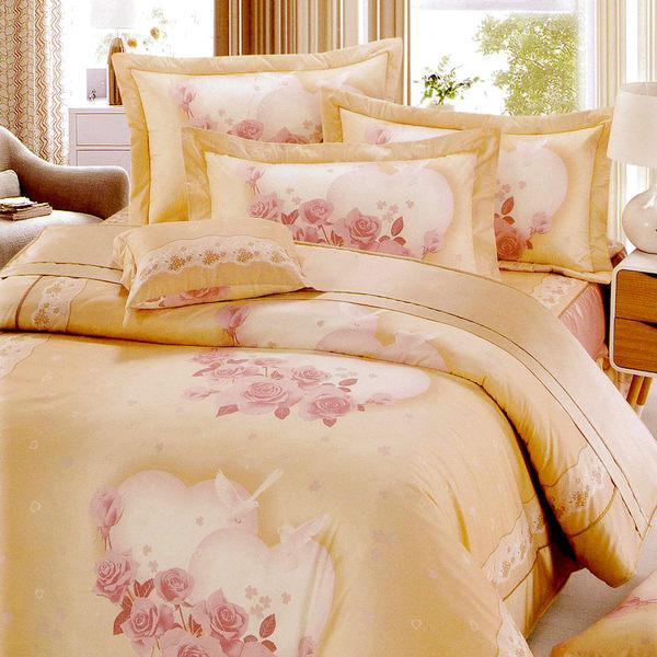 花嫁系列-精梳純棉 兩用被床罩組 特大八件式-比翼和鳴 / 哇哇購