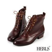 短靴-HERLS 外真皮 中性帥氣粗跟綁帶短靴-紅棕色