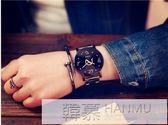 韓版簡約女中學生時尚潮流男士鋼帶防水石英情侶手錶一對