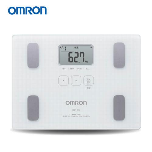 OMRON 歐姆龍體脂計 HBF-216(白色)-贈可愛小熊皮尺-(HBF-212進階版)
