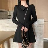 長袖連衣裙2019新款秋時尚翻領拉鏈設計感收腰顯瘦氣質打底小黑裙