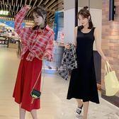 促銷價不退換中大尺碼L-4XL原創休閒防曬套裝時尚减齡格紋防曬襯衣 背心連衣裙兩件套3F136A-6216
