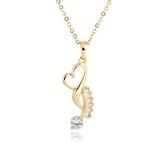 項鍊 純銀鍍18K金鑲鑽吊墜-氣質愛心生日情人節禮物女飾品2色73cu181【時尚巴黎】