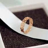 正韓時尚鈦鋼鍍18K玫瑰金鏤空花朵戒指尾戒女食指指環韓國