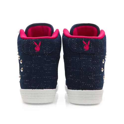 PLAYBOY美型韓系 針織高筒內增高休閒鞋-藍