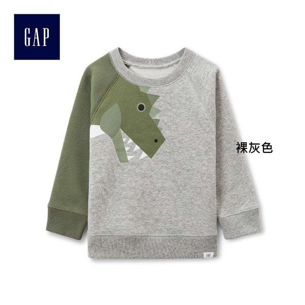 Gap男嬰幼童 趣味恐龍印花套頭長袖休閒上衣 260313-裸灰色