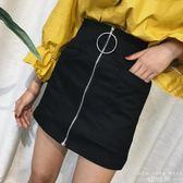 褲裙 圓環拉鏈大口袋a字韓版包臀半身裙