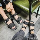 新款夏季港風羅馬韓版男女情侶休閒運動涼鞋潮流魔術貼沙灘鞋   伊鞋本鋪