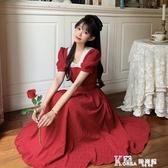 紅色洋裝-夏天法式復古蕾絲v領裙子夏季2020新款顯瘦泡泡袖紅色洋裝女夏