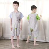 兒童哈衣夏3-5歲男寶寶連體睡衣中童棉質女小孩大碼哈衣大童7短袖【週年店慶好康八五折】