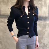 針織長袖 緊身針織開衫女短款薄款修身韓版春秋新款毛衣復古長袖小外套上衣 免運 維多