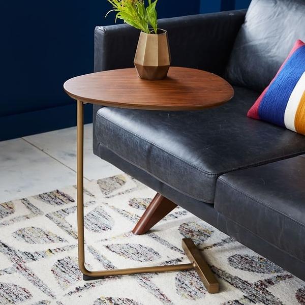 創意簡約橢圓形茶幾 移動實木鐵藝沙發角幾邊幾 懶人床頭閱讀桌 可定制尺寸顏色