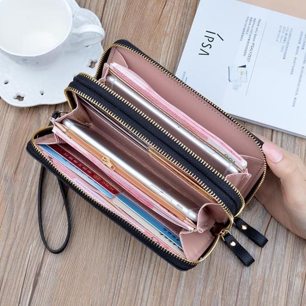 長夾 女士手拿錢包女長款簡約大容量雙拉鍊雙層手抓包媽媽包可放手機  夏季新品