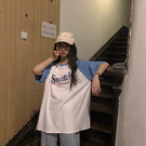 印花短袖女 韓國INS復古原宿bf風字母印花夏季新款寬松拼色插肩袖短袖T恤女潮 寶貝計書