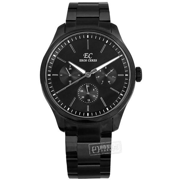 EROS CERES / GQ6158BK-BK / 經典潮流 三眼三針 藍寶石水晶玻璃 日期星期 日本機芯 不鏽鋼手錶 鍍黑 44mm