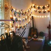 創意美式復古背景宿舍牆面裝飾壁飾掛飾明信片麻繩夾子店鋪照片牆 【快速出貨八五折鉅惠】