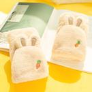 韓版毛絨手套冬天女加絨可愛掛脖防寒學生加厚棉露指翻蓋冬季保暖 店慶降價