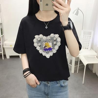 M-5XL胖妹妹大碼短T~韓版女裝純棉大碼蕾絲胖妹妹200斤寬松短袖T恤8383N503愛尚布衣