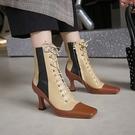 真皮女鞋34-40☆2019新款百搭頭層牛皮短靴 英倫風拼色馬丁靴 方頭系帶高跟靴~焦糖色