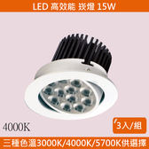 HONEY COMB LED15W高效能崁燈 3入一組 自然光 TAD03424